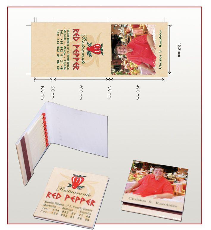 Carteritas de cerillas modelo Book 1x9 para Restautante Red Pepper.
