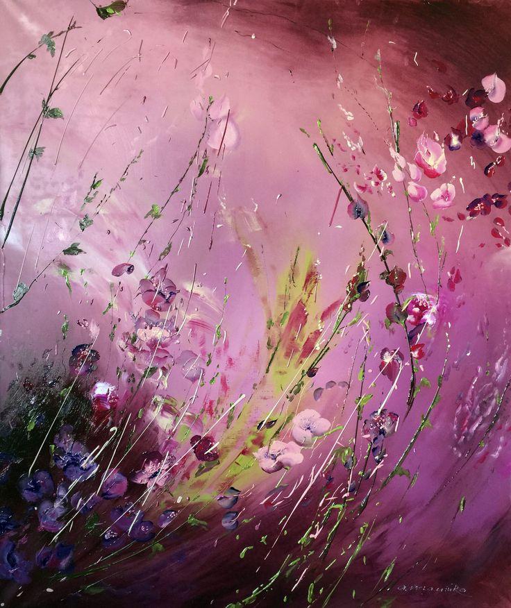 Картина цветочная фантазия в розовых тонах.