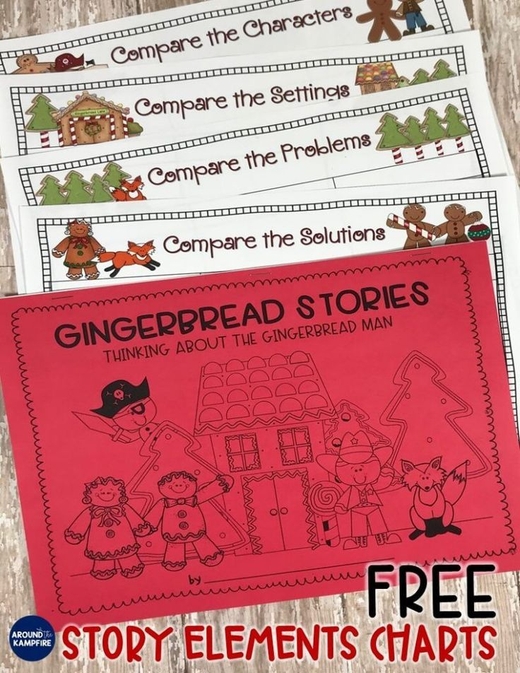 Gingerbread man reading comprehension activities with FREE printable story elements charts for comparing versions of The Gingerbread Man. Ideal for 1st and 2nd grade and a great addition to December gingerbread activities.