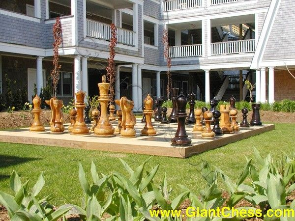 Wooden Chess Set : Life Size Chess For Your Lawn   Patio   Garden Games