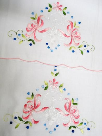 SATIN STITCH EMBROIDERY PRPILLOW CASES -- hard to tell if this is hand or machine embroidery it is so perfect looking!