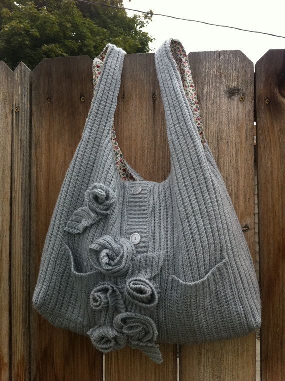 Beautiful upcycled sweater purse by MyLadyWest on Etsy