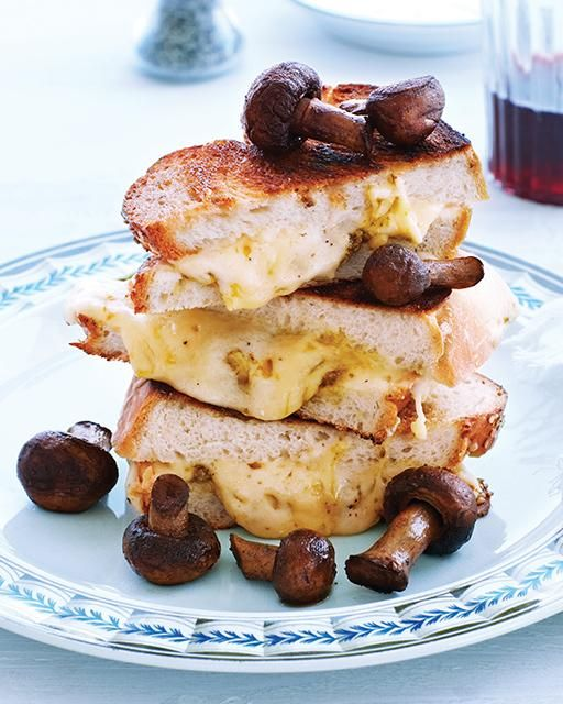 Sweet Paul's Four Cheese Grilled Cheese with Pesto & Mushrooms -- It's almost like a fondue sandwich!
