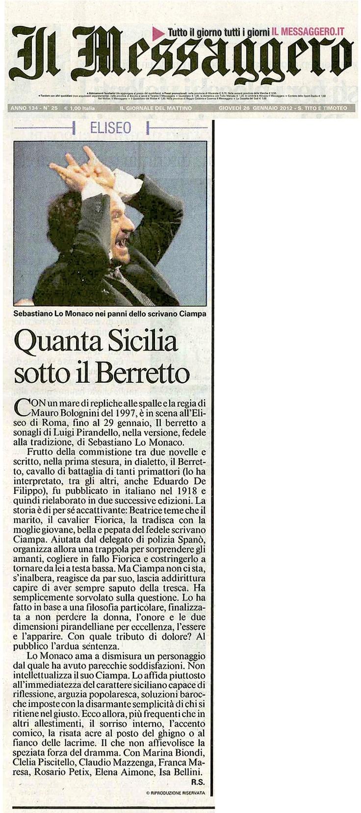 """26 gennaio 2012 - Il Messagero - Rita Sala su """"Il Berretto a Sonagli"""""""