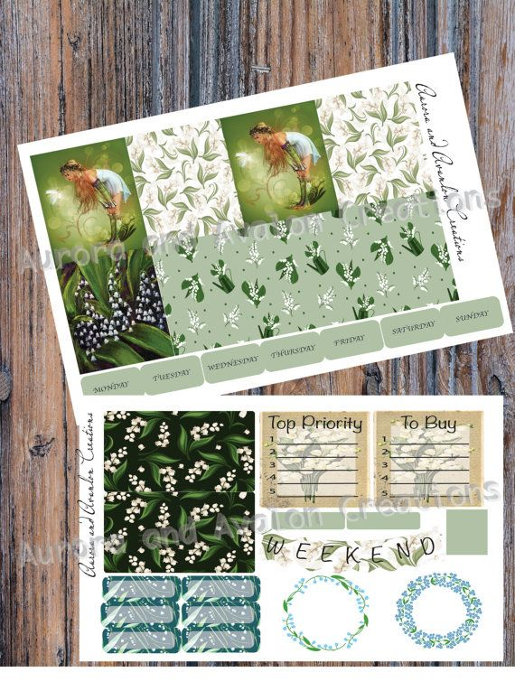 Lily of the Valley Fey..Weekly kit for Erin Condren and Happy Planner