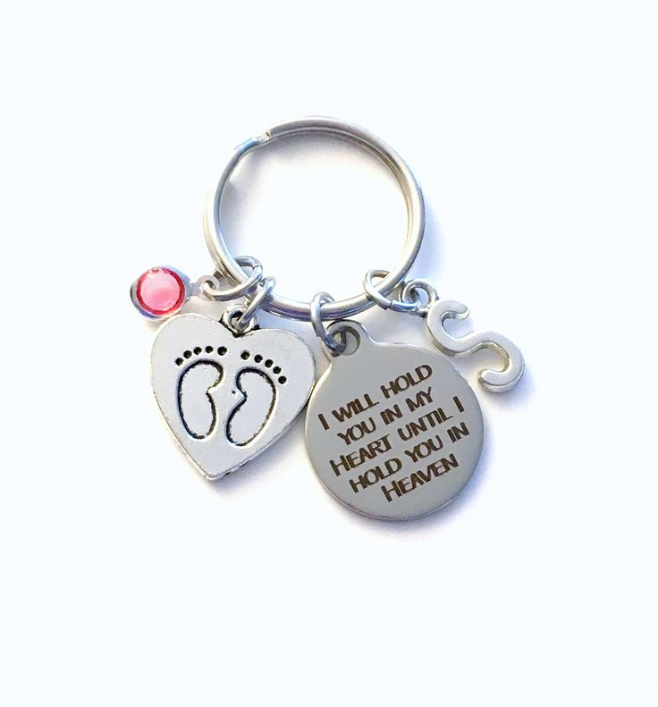 I will hold you in my heart until I hold you in heaven Keychain, Loss of Baby Key Chain, Gift for Miscarriage Memorial infant son daughter by aJoyfulSurprise on Etsy