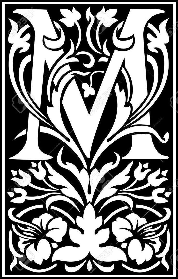 Английские буквы алфавита, украшенные цветами и листьев растений Клипарты, векторы, и Набор Иллюстраций Без Оплаты Отчислений. Image 27143004.