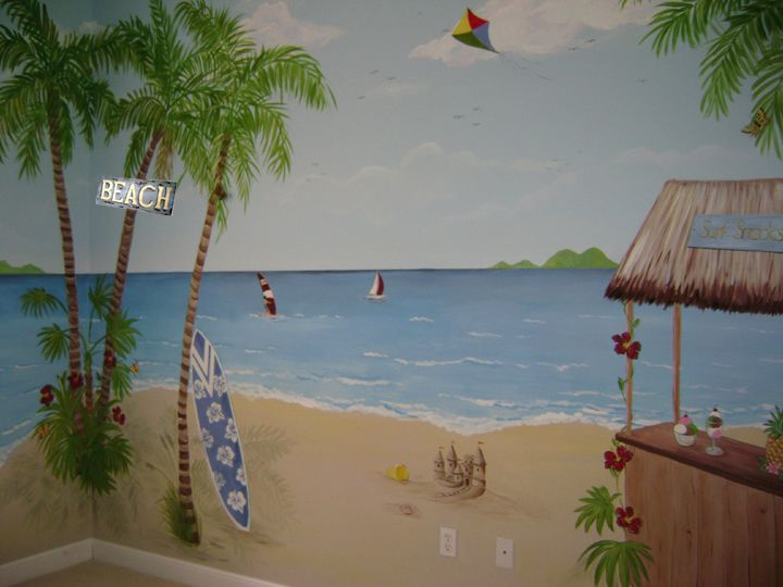 35 best divider wall images on pinterest diy backsplash for Beach mural painting