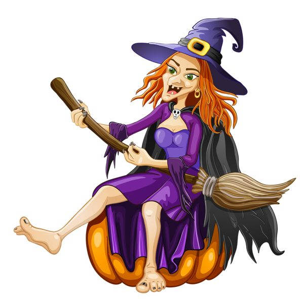 Halloween Witch with Pumpkin PNG Clipart