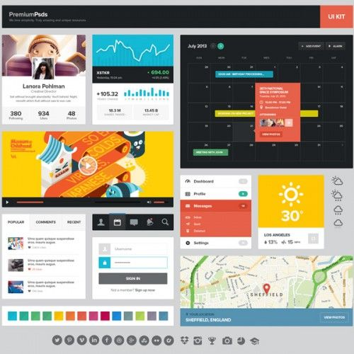 Amazing Windows 8 Flat Web Elements Kit PSD