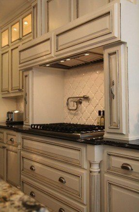 Suzie M E Beck Design Antique Ivory Kitchen Cabinets