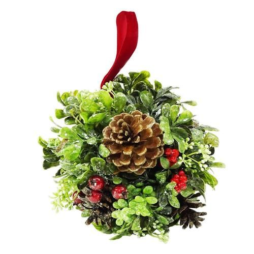 "7"""" Glittered Artificial Boxwood Berry & Pine Cone Christmas Kissing Topiary Ball"