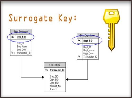 A surrogate key in a database is a unique identifier for either an entity in the modeled world or an object in the database. The surrogate key is not derived from application data.