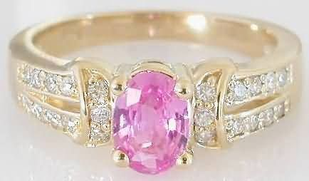Yellow Gold Pink Sapphire Wedding Rings - The Wedding Specialists
