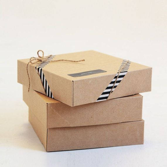 6 1/2 x 6 1/2 x 1 5/8 inch Kraft Gift Boxes lot by leboxboutique, $3.97