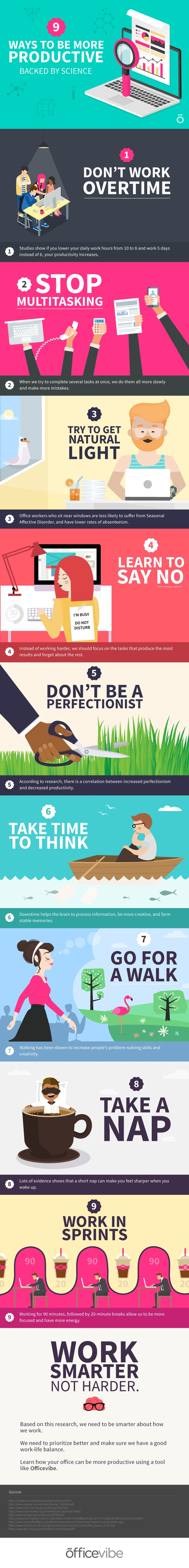 J'aime les couleurs puissantes, le text est gras et court, et les illustrations sont amicale - http://elearninginfographics.com/increase-productivity-work-infographic/