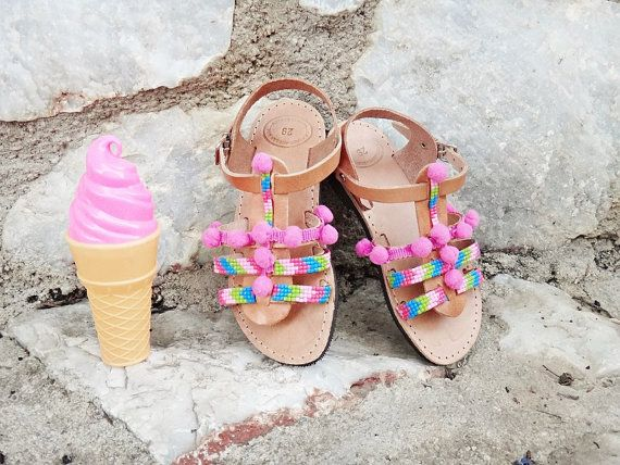 Strawberry Candies Pom Pom Sandals / Colorful Resin by Twininas