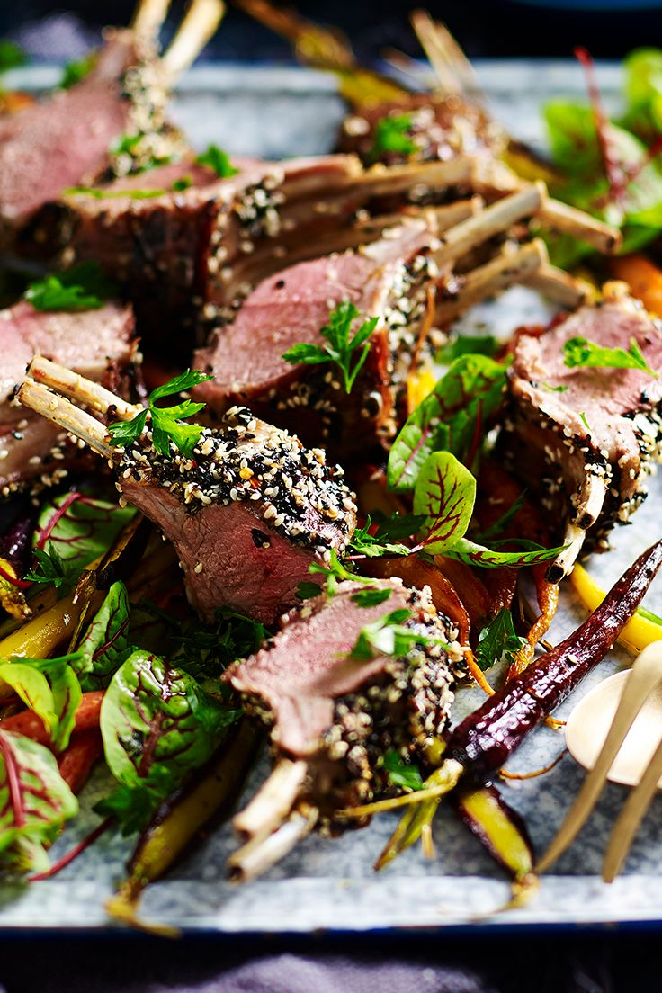 Jazz up dinner time with these delicious lamb racks. They are rolled in a delicious seed and spice mix, and served with juicy roasted carrots for the ultimate family meal.