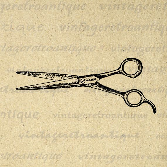 Digital Graphic Hair Cutting Shears Barber Scissors Image Illustration Printable Artwork Antique Clip Art. High resolution digital image graphic from vintage artwork for printing, fabric transfers, pillows, tea towels, and many other uses. Great for etsy products. This image is high quality, high resolution at 8½ x 11 inches. Transparent background version included with all images.