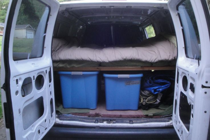Conversion Of The Van To A Camper Queen Size Bed Platform