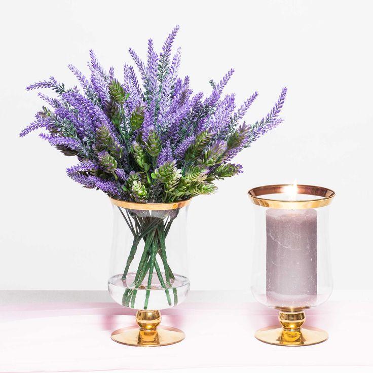 Vaza de sticla cu auriu pentru lumanari