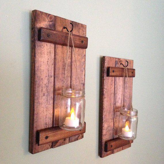 These Beautiful Set Of 2 Mason Jar Candle Holders Were