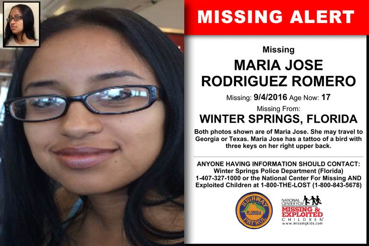 MARIA JOSE RODRIGUEZ ROMERO, Age Now: 17, Missing: 09/04/2016. Missing From WINTER SPRINGS, FL. ANYONE HAVING INFORMATION SHOULD CONTACT: Winter Springs Police Department (Florida) 1-407-327-1000.