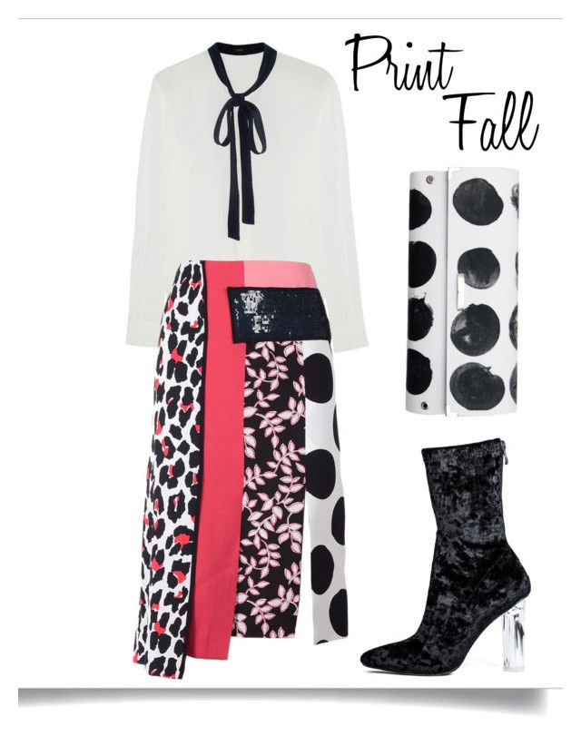 """Print Fall"" by amchavesj-1 ❤ liked on Polyvore featuring Joseph, MSGM, Spanaki, velvetboots, tieneckblouse and printfall"