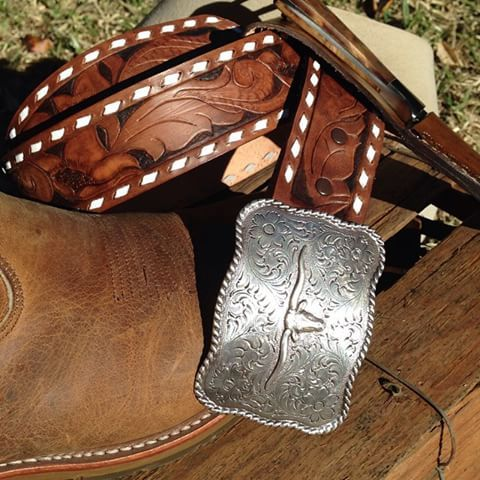 Cowboy Belt, hand tooled, with white buck stitching by Western Dry Goods.  www.westerndrygoods.com