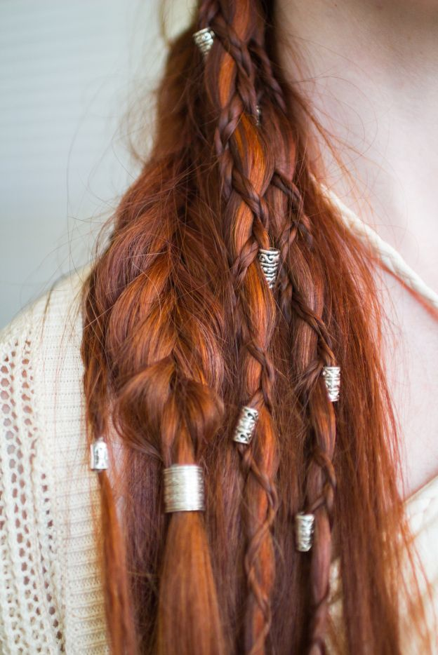 Viking Hairstyle with Braids and Beads... really cool!