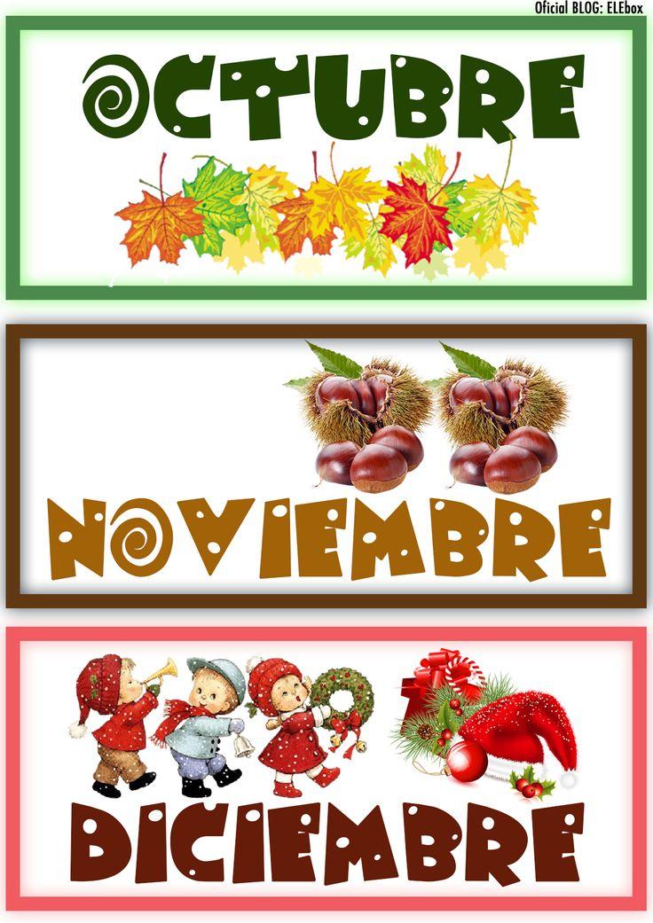 Los meses del año. Octubre, Noviembre y Diciembre