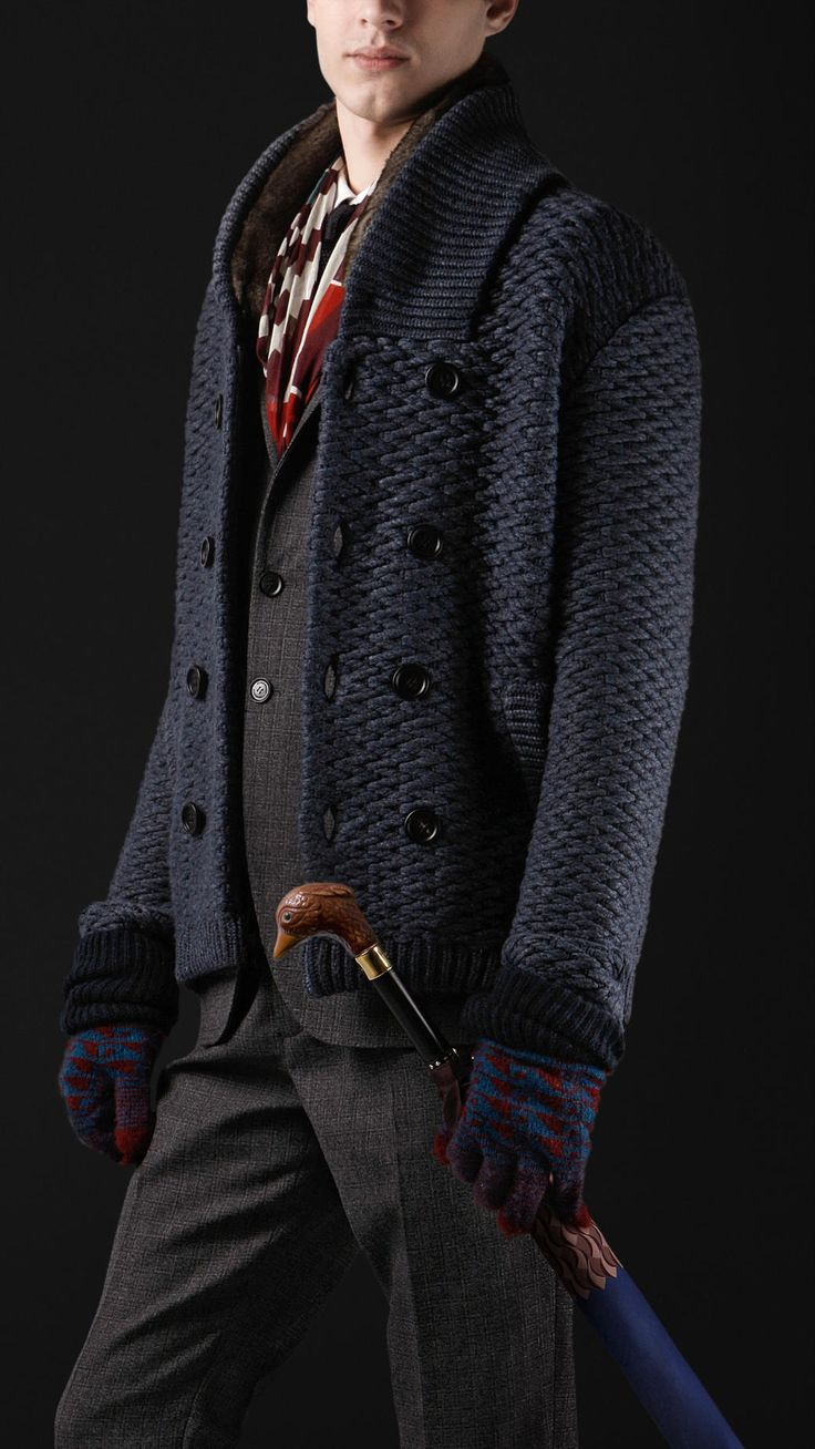 It is cold outside. Time to put something warm over: Shawl Collar Knitted Pea Coat | #Burberry