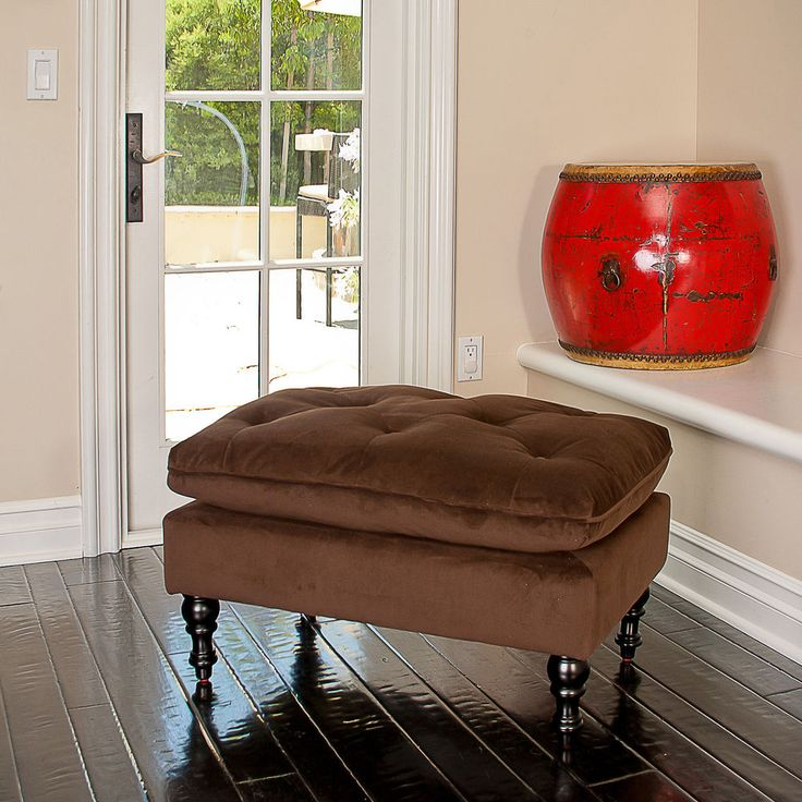 Chocolate Brown Tufted Fabric Ottoman Footstool Home Seat #Home