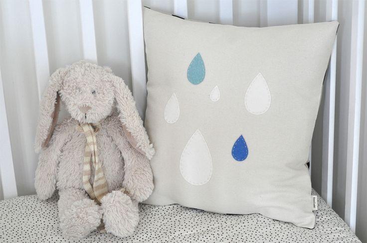 Raindrops Cushion http://felt.co.nz/listing/175788/Raindrops-Cushion---100-Silk-Canvas-Linen--and--Wool
