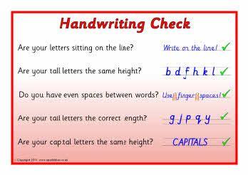 handwriting checklist poster from ot handwriting handwriting activities. Black Bedroom Furniture Sets. Home Design Ideas