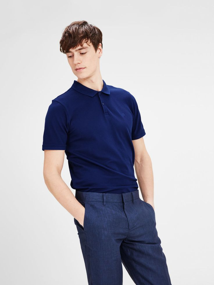 Casual polo t-shirt in bright blue with a slim collar | JACK & JONES