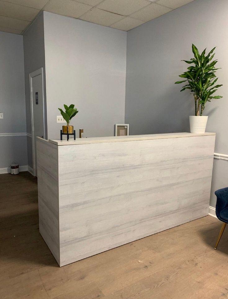 Reclaimed Wood Reception Desk Welcome Desk By Greencleandesigns Wood Reception Desk Reception Desk Industrial Reception Desk