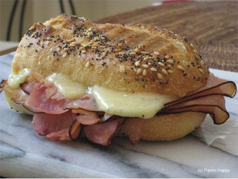Emmental, ham & honey panini