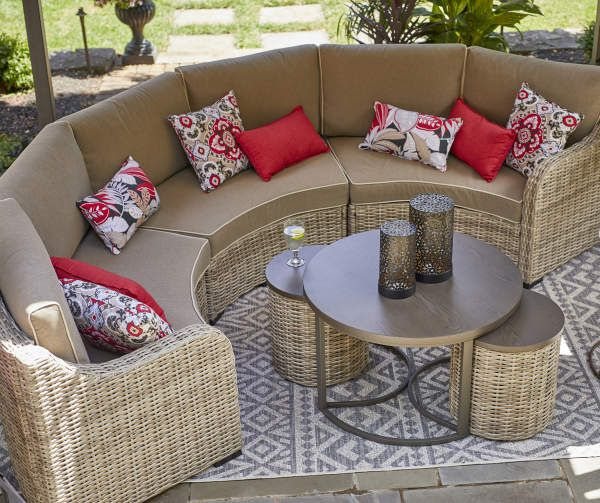 Broyhill Capilano Curved All Weather Wicker Patio Sectional Sofa Big Lots In 2020 Wicker Patio Sectional Patio Sectional Outdoor Sectional Sofa