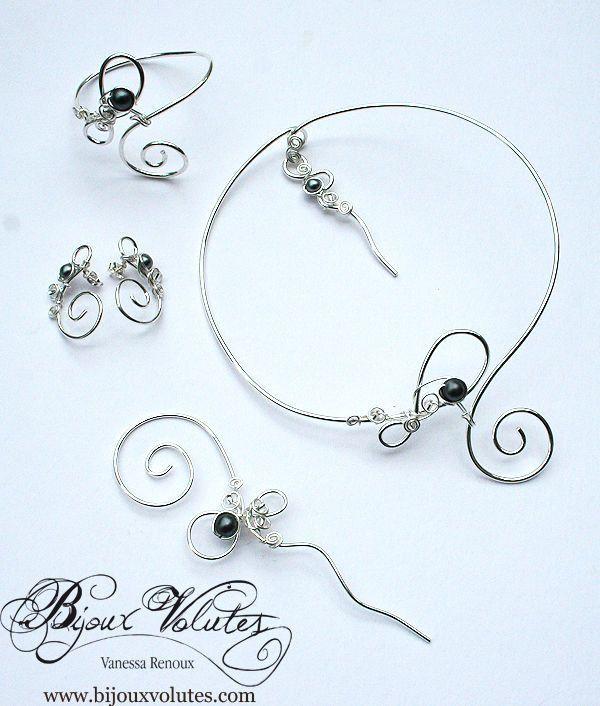 17 best images about bijoux mariage perle noire ou grise collier mariage noir ou gris on. Black Bedroom Furniture Sets. Home Design Ideas