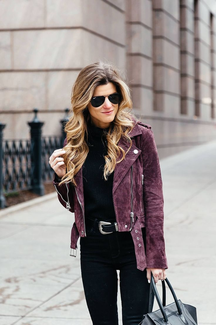 all black winter outfit idea, blankNYC burgundy suede biker jacket, suede moto jacket, all black outfit