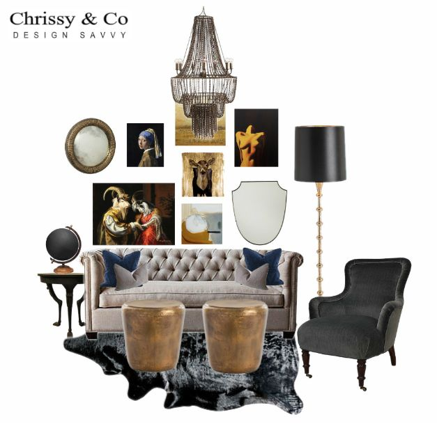 Contemporary Living Room Client Conceptual: Design By Chrissy & Co Design Savvy. Grey tufted sofa, back velvet chair, bass tables and gallery wall.