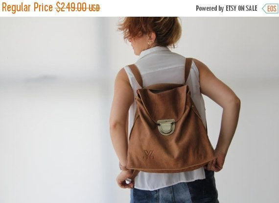 Brown Leather Backpack   Convertible bag  cross body bag by PolaV