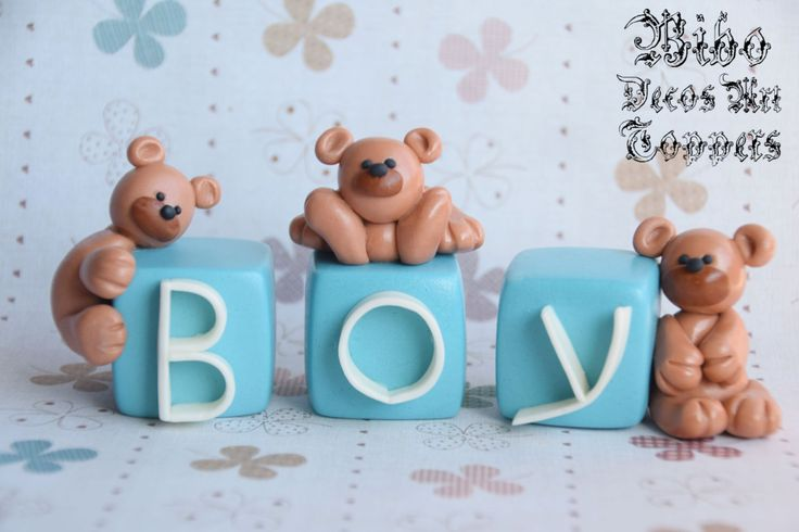 Edible 3D Teddy Bear Name or Number Blocks Fondant Cake Toppers , Birthday Cake Toppers by BiboDecosArtToppers on Etsy
