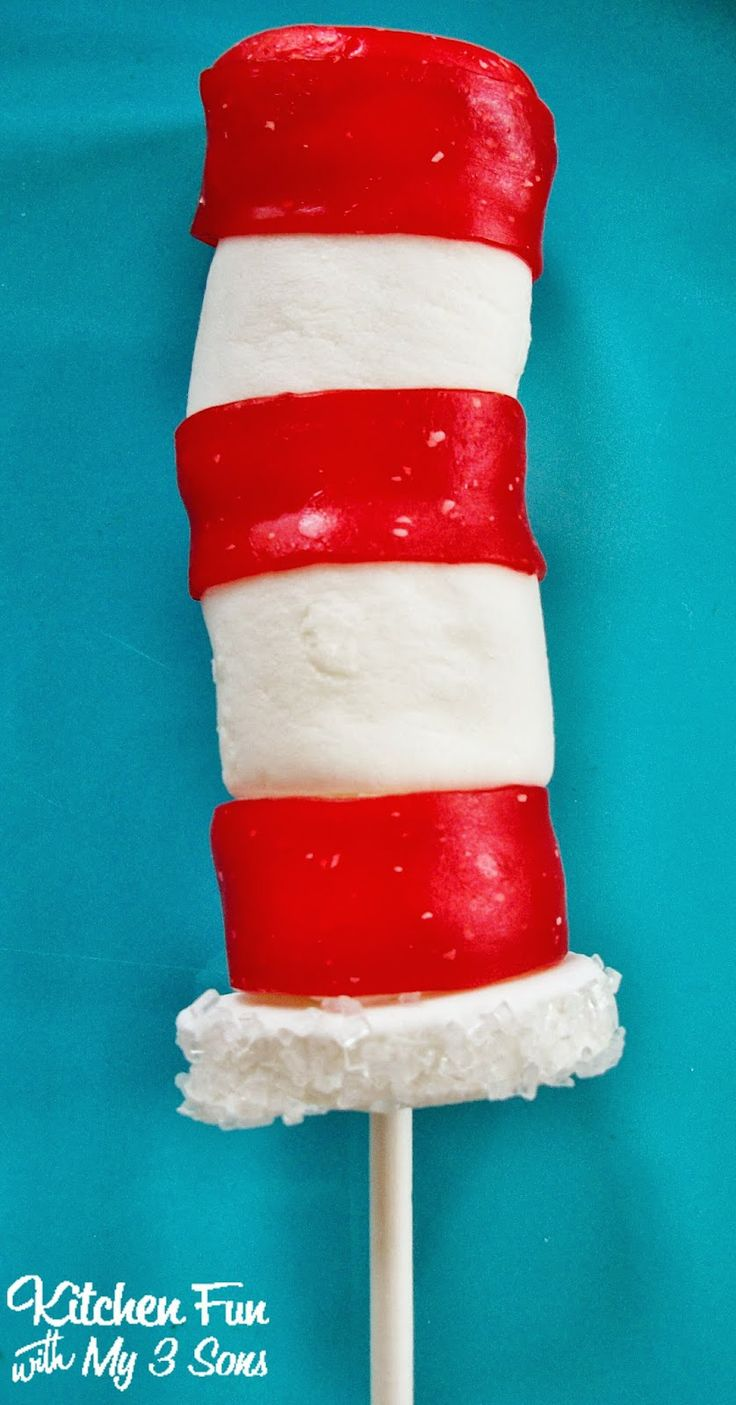 Dr. Seuss Cat in the Hat Marshmallow Pops...so easy & great for class parties at school!  http://kitchenfunwithmy3sons.blogspot.com/2012/02/dr-seuss-hat-pops.html