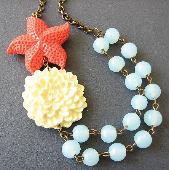 Starfish Jewelry Flower Necklace Statement Jewelry by zafirenia, $35.00