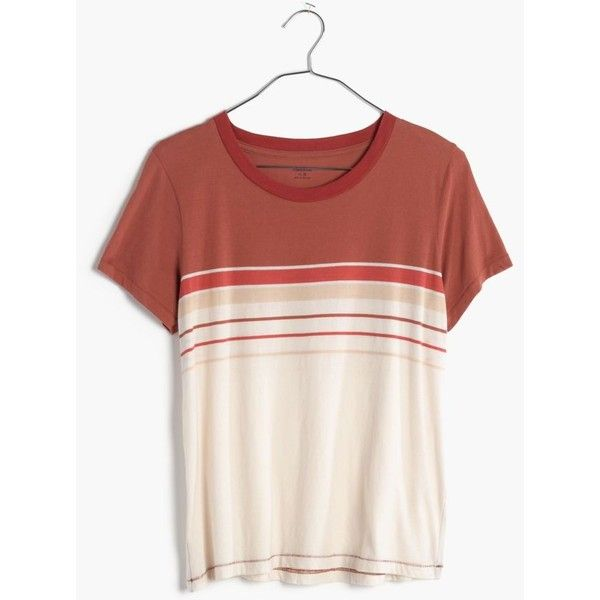MADEWELL Striped Radio Tee ($40) ❤ liked on Polyvore featuring tops, t-shirts, lava rock, red top, retro tees, striped tee, retro t shirts and red tee