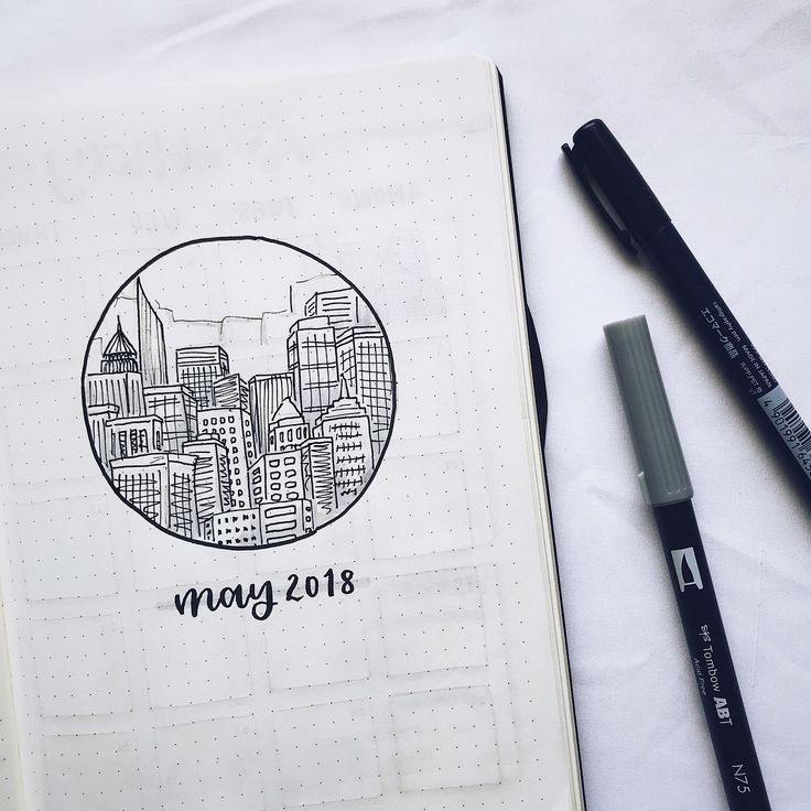 Bullet journal monthly cover page, May cover page, city drawing, buildings drawing, hand lettering.   @cup_doodles – #buildings #Bullet #city #cover