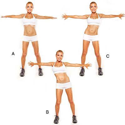 Palms-Back Arm Extension - Bikini Workout by Tracy Anderson - Health Mobile Palms-Retour bras articulé Debout, pieds légèrement plus larges que la largeur des hanches écartées, les bras tendus sur les côtés, les paumes face vers le bas (A). Serrez les omoplates. Comme vous le relâchez, déplacer torse à droite, ce qui avec la main droite et de palmiers rotation jusqu'à ce qu'ils soient confrontés à dos (B). Tirez les omoplates et répétez mouvement sur le côté gauche (C). Retour au centre…