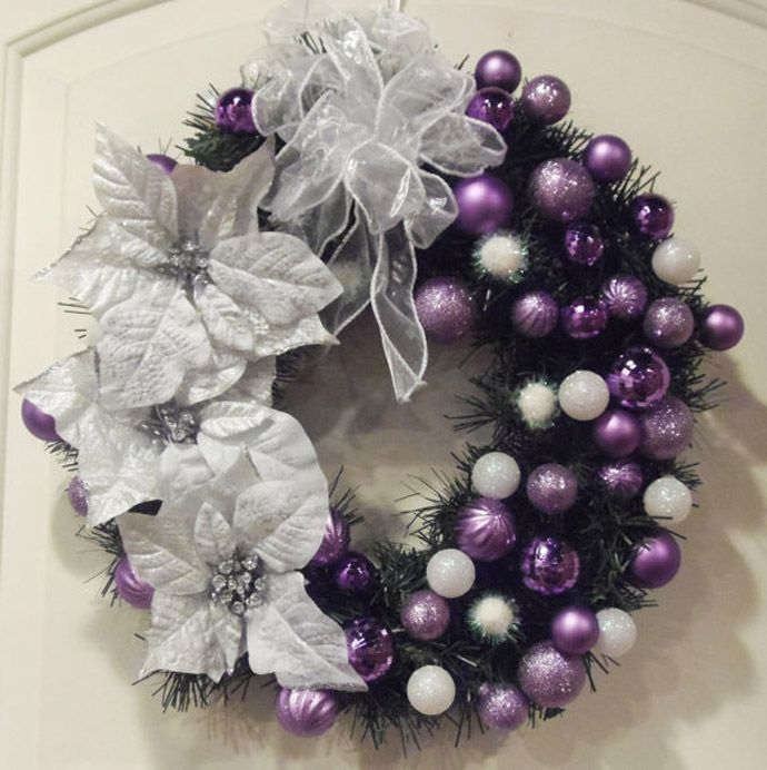 What about this for a wreath? Much easier than all ornaments but still gives the affect?